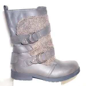 Sugar Justine 7.5 Gray Mid Ankle Boots Shearling